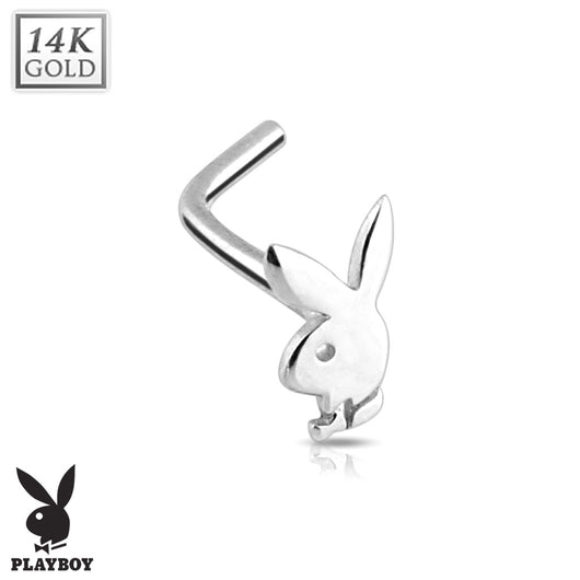 Playboy Bunny 14K White Solid Gold L Bend Nose Stud Ring