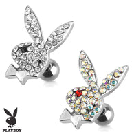 Playboy Bunny with CZ Surgical Steel Cartilage Tragus Barbell
