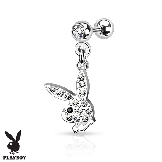 CZ Playboy Bunny Dangle Surgical Steel Cartilage Helix Tragus Barbell