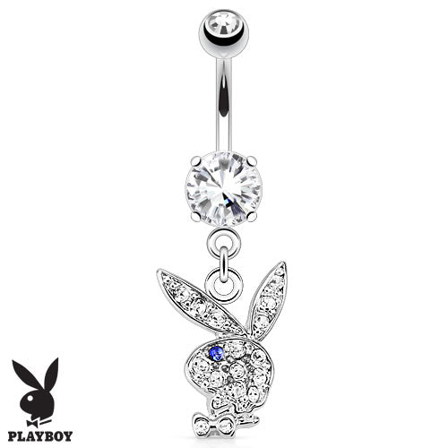 Playboy Bunny CZ Dangle Surgical Steel Navel Belly Button Ring