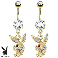 Playboy Bunny CZ Dangle 14K Gold Plated Navel Belly Button Ring