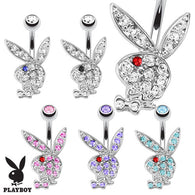 Playboy Bunny CZ Surgical Steel Navel Belly Button Ring