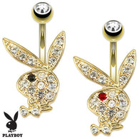 Playboy Bunny CZ 14K Gold Plated Navel Belly Button Ring
