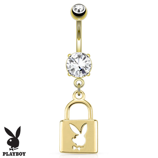 Playboy Bunny CZ Lock Dangle 14K Gold Plated Navel Belly Button Ring