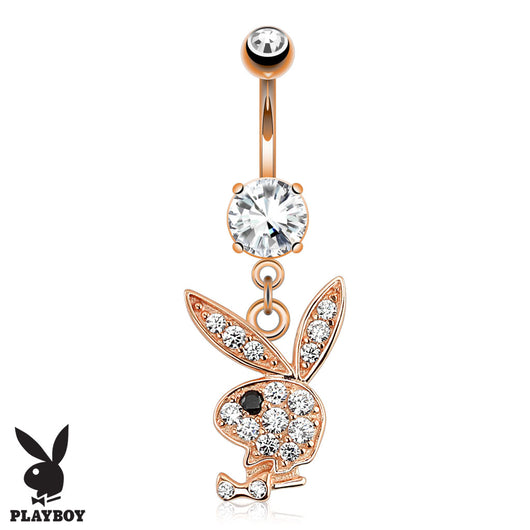 Playboy Bunny CZ Dangle Rose Gold Plated Navel Belly Button Ring