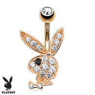Playboy Bunny CZ Rose Gold Plated Navel Belly Button Ring
