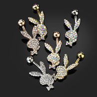 Multi CZ Paved Playboy Bunny 14kt Gold Plated Navel Belly Button Ring
