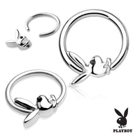 Playboy Bunny with Black CZ Eye 316L Surgical Steel Captive Bead Ring