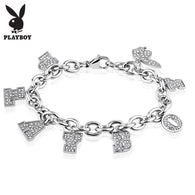 Playboy Clear Gem Stainless Steel Charm Bracelet