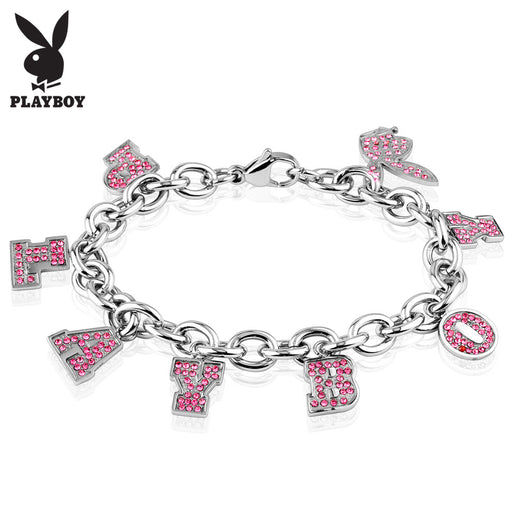Playboy Pink CZ Gold Plated Stainless Steel Charm Bracelet