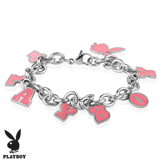 Pink Enamel Filled Playboy Stainless Steel Charm Bracelet