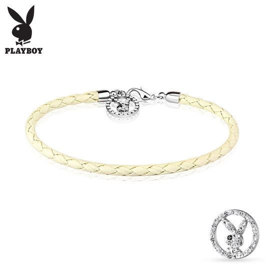 Multi Paved CZ Playboy Bunny Round Logo Leather Bracelet