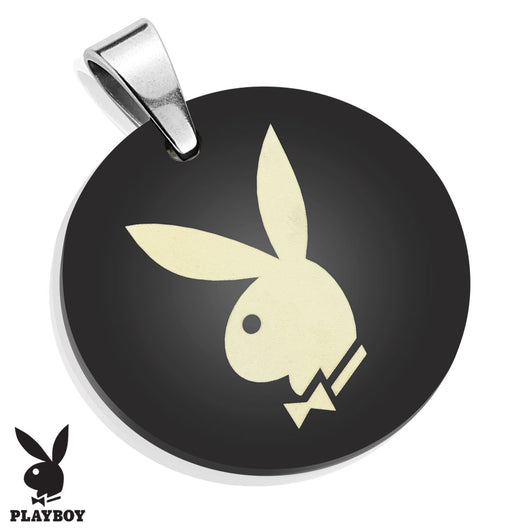 Playboy Logo Medallion Black IP Stainless Steel Pendant