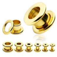 1 Pc 14K Gold Plated Basic Ear Plugs Screw Fit Flesh Tunnels