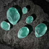 Pair Pyrex Glass Green Alien Face Double Flare Ear Plugs