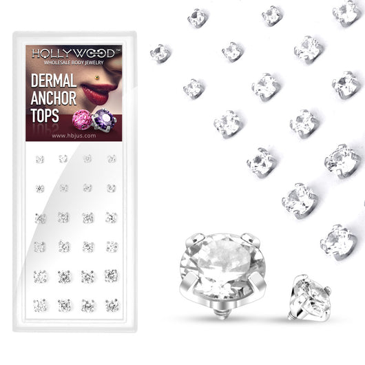 24 Pc 3mm 4mm 5mm CZ Dermal Anchor Top Package