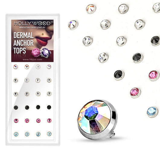 24 Pc Flat Bottom Dome CZ Dermal Anchor Top Package