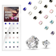 24 Pc Prong Set Assorted CZ Dermal Anchor Top Package
