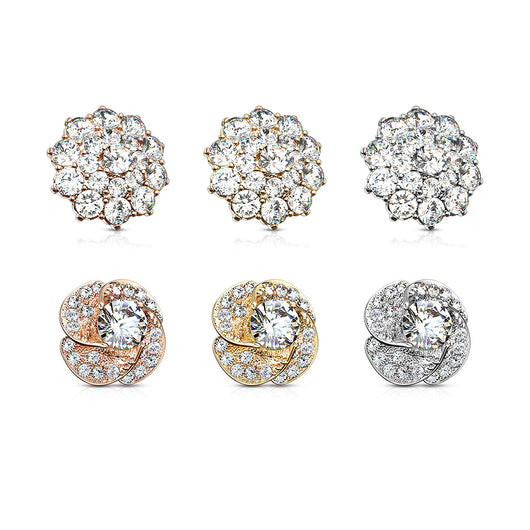 24 Pc Box Set Flower And Roes Blossom CZ Dermal Anchor Tops Internally Threaded