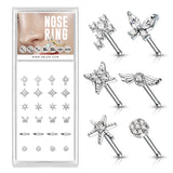 24 Pc Pre Loaded Mixed CZ Top Nose Bone Stud Rings