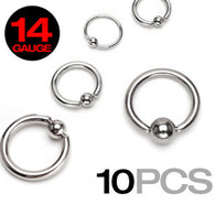 10 Pc of Basic 316L Surgical Steel Captive Bead Rings 14GA