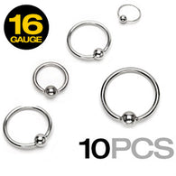 10 Pc of Basic 316L Surgical Steel Captive Bead Rings 16GA