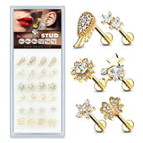 24 Pc Package Mixed Style 14Kt Gold Plated Top Labret Monroe Ear Cartilage Studs