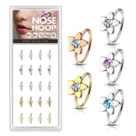 20 Pc Pack 20G CZ Flower Nose Tragus Cartilage Hoop Rings