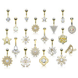 20 Pc Box Package 14K Gold Plated CZ Assorted Navel Belly Button Ring