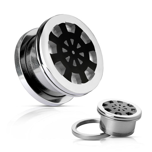 Black Ship Wheel Surgical Steel Screw Fit Flesh Tunnels