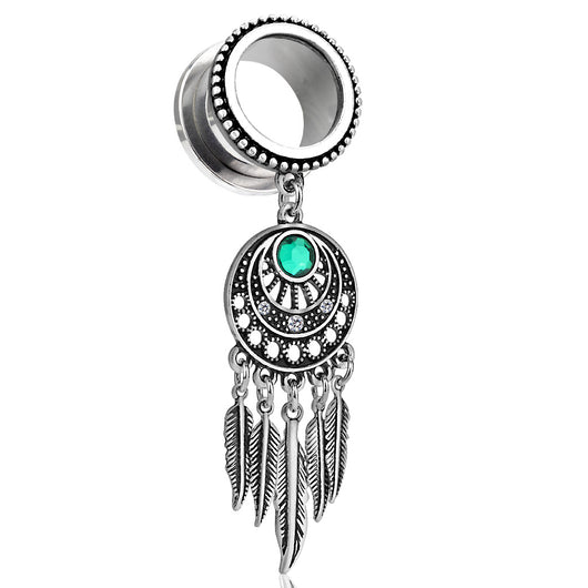 Pair Of Dream Catcher Dangle Antique Silver Screw Fit Flesh Ear Tunnels