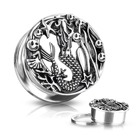 Pair Antique Silver Plated Siren Front Screw Fit Flesh Tunnels Ear Plugs