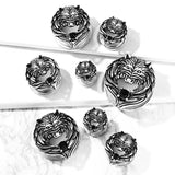 Pair Antique Silver Plated Black CZ Wolf Screw Fit Flesh Tunnels Ear Plugs