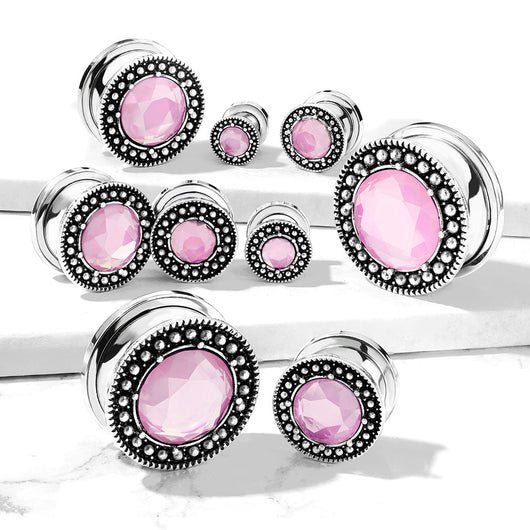 Pair Pink Glass Stone With Burnish Shield Screw Fit Flesh Tunnels Ear Plugs