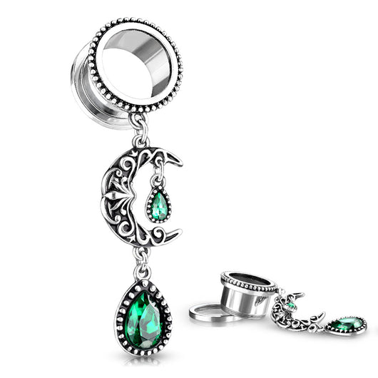 Pair Filigree Moon With Emerald Green Stone Pear Dangle Ear Flesh Tunnel Ear Plugs