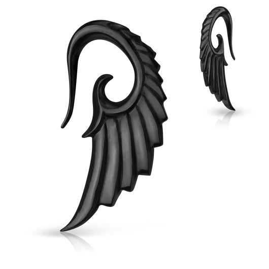 1 Pc Angel Wing Hanging Hand Carved Organic Horn Ear Taper Ear Plugs