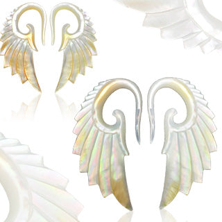 Pair Of Angelic Wing Hand Carved Mother of Pearl Ear Taper Ear Plugs