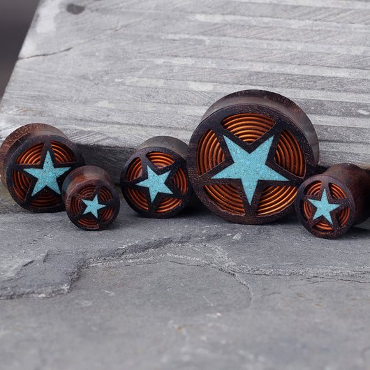 Crushed Turquoise Filled Star With Coil Inlay Sono Wood Saddle Plugs