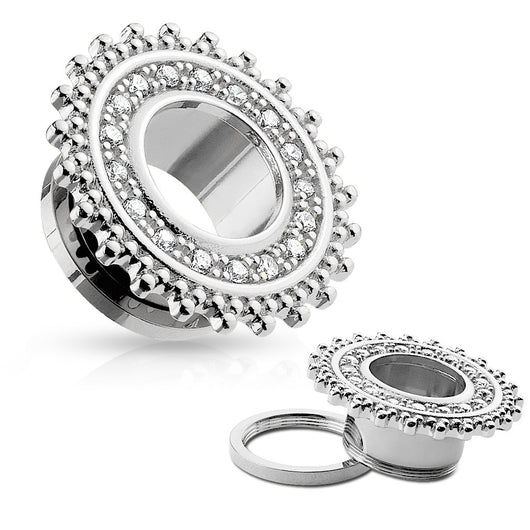 CZ Paved Tribal Shield Top 316L Surgical Steel Screw Fit Flesh Tunnels