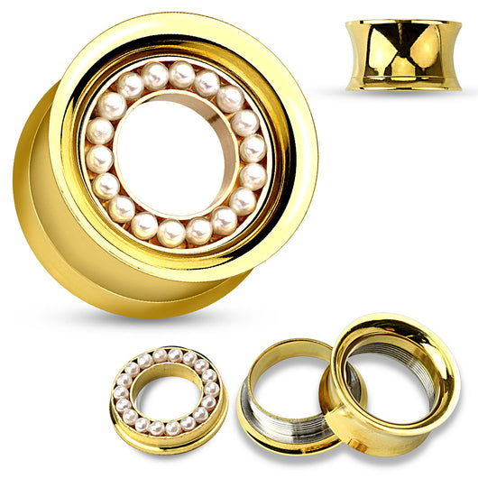 Pair Pearl Paved Gold Double Flared Screw Fit Flesh Tunnels