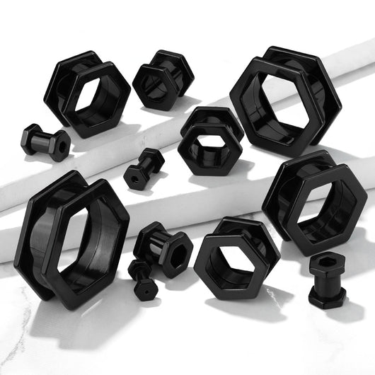 Pair Black Hexa Front Plated On Surgical Steel Basic Plugs Screw Fit Flesh Tunnels Ear Plugs