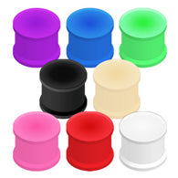 Big Size Vibrant Color Silicone Ultra Flexible Double Flat Flared Plugs Ear Retainers