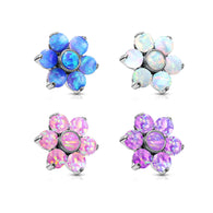 6 mm Opal Prong Set Flower Internal Threaded Dermal Anchor Tops
