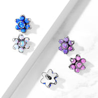 16G 6 mm Opal Prong Set Flower Internal Threaded Lip Dermal Anchor Tops