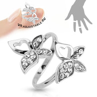 Double Butterfly CZ Adjustable Rhodium Plated Brass Mid Ring Toe Ring