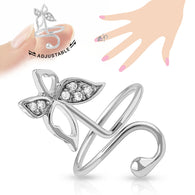 Butterfly Multi CZ Adjustable Rhodium Plated Brass Nail Ring