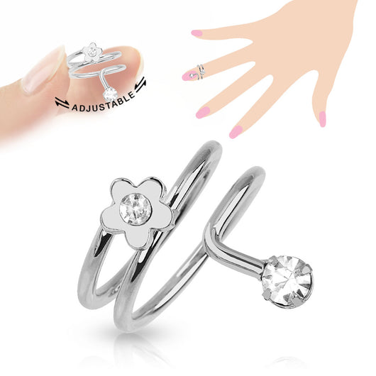 Flower CZ Adjustable Rhodium Plated Brass Nail Ring