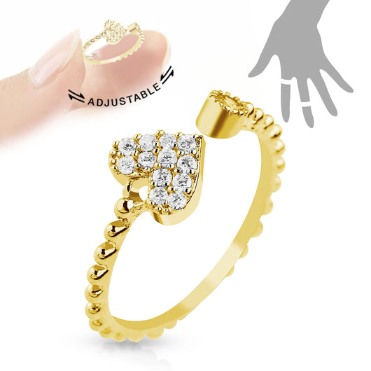 Gold Heart Multi CZ Adjustable Rhodium Plated Brass Mid Ring Toe Ring