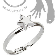 Tiny Star Adjustable Rhodium Plated Brass Mid Ring Toe Ring