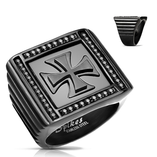 Iron Cross Center Black Stone Paved Square Black Biker Stainless Steel Rings